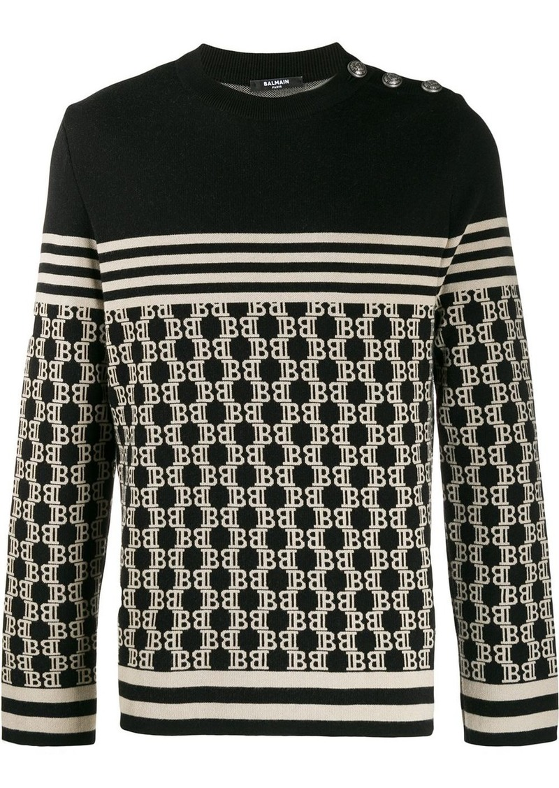 Balmain monogram knitted jumper