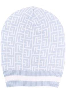 Balmain monogram-pattern beanie