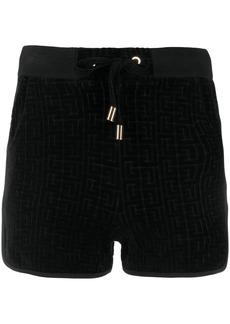 Balmain monogram velvet shorts