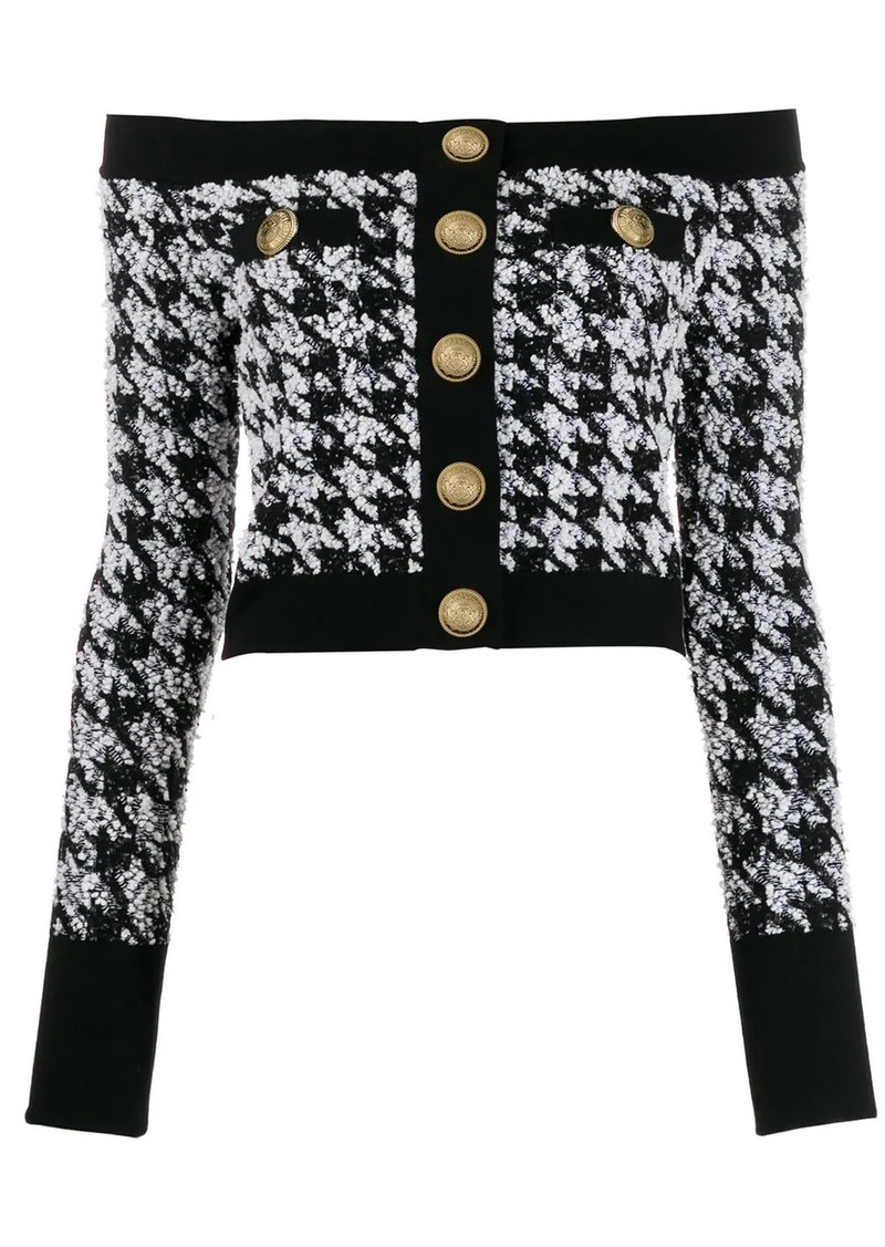 Balmain off-the-shoulder houndstooth top