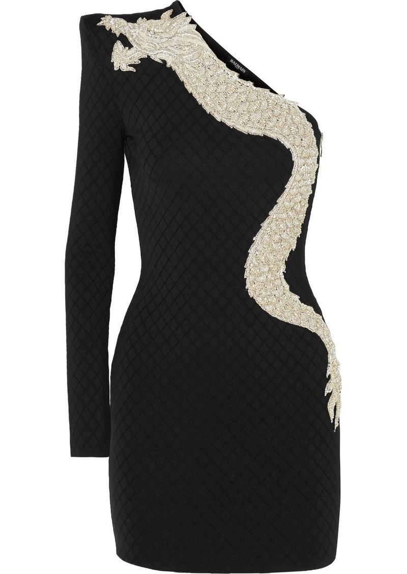 Balmain One-sleeve Crystal-embellished Stretch-jersey Mini Dress