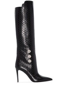 Balmain Opaline 95mm monogram knee-high boots