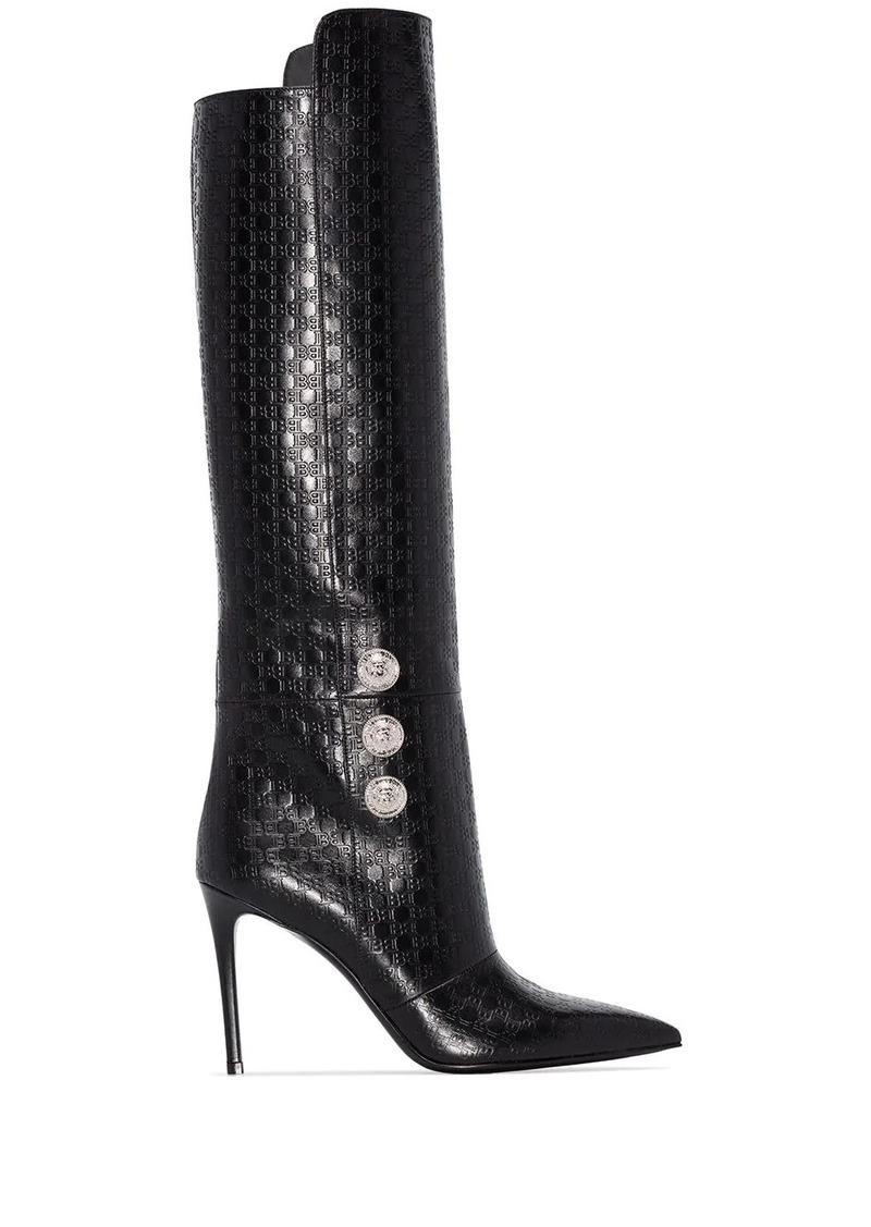Balmain Opaline 95mm monogram knee-high boots