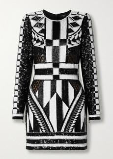 Balmain Open-back Metallic Jacquard-knit Mini Dress