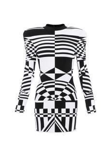 Balmain Optical Jacquard Padded Shoulder Dress