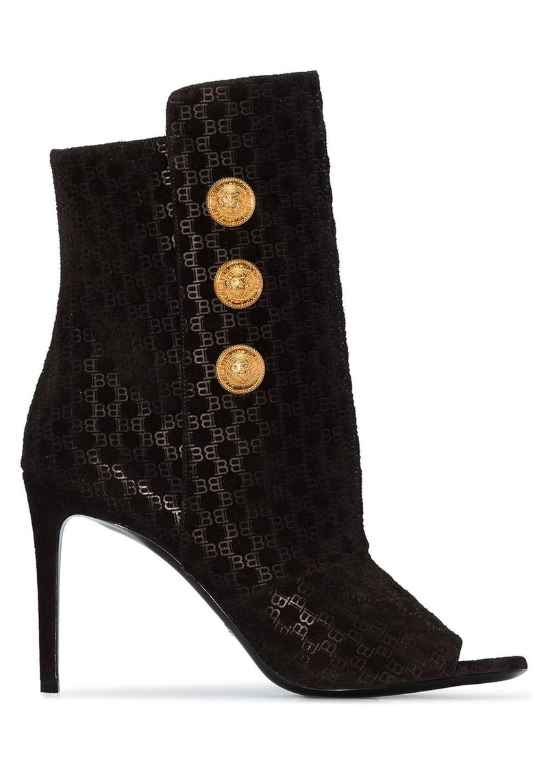 Balmain Oslo button-detailed flocked leather ankle boots
