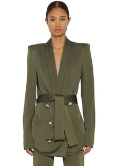 Balmain Oversize Double Breasted Jacket W/ Belt