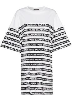 Balmain oversized logo stripe print cotton t shirt