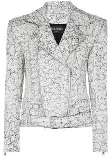 Balmain Oversized Painted Cracked-leather Biker Jacket