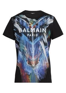 Balmain Paint Graphic Logo Tee