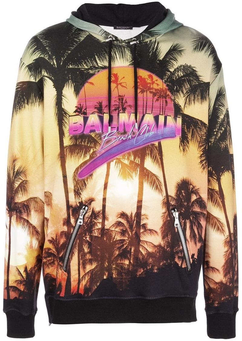 Balmain palm tree print hoodie