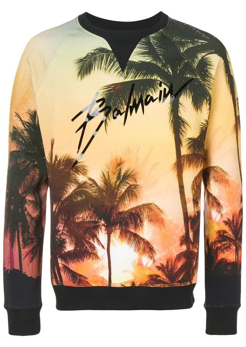 Balmain Palm tree print sweatshirt