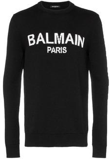 Balmain Paris logo knit wool jumper