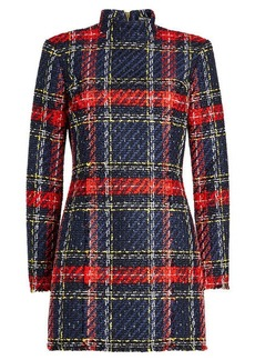 Balmain Plaid Dress with Cotton and Linen