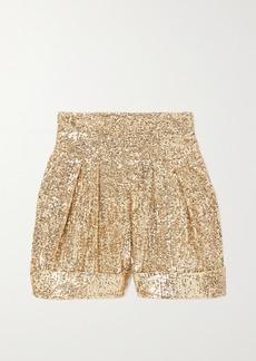 Balmain Pleated Sequined Crepe Shorts