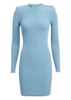 Balmain Pointelle Light Blue Knit Mini Dress