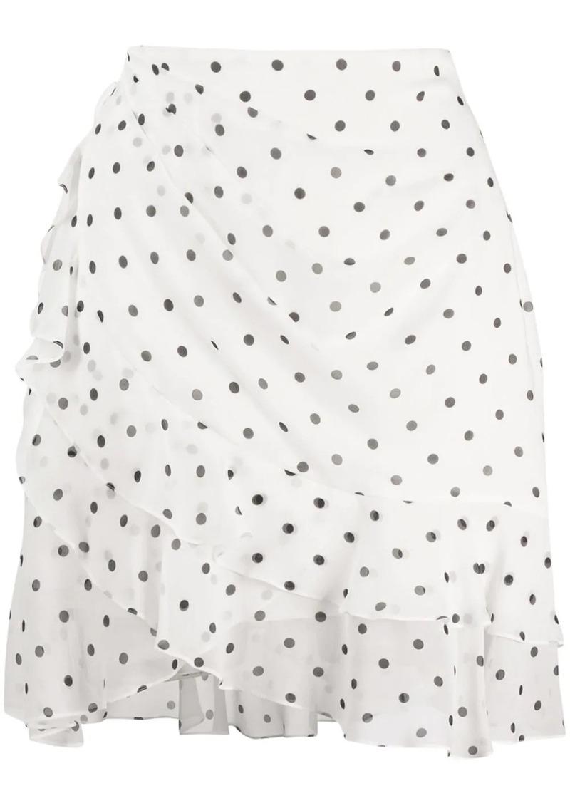 Balmain polka-dot ruffled mini skirt