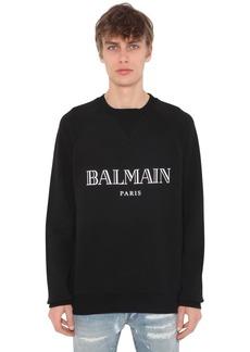 Balmain Print Raglan Cotton Jersey Sweatshirt