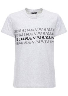 Balmain Printed & Foil Logo Jersey T-shirt