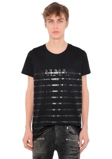 Balmain Printed Stripes Cotton Jersey T-shirt