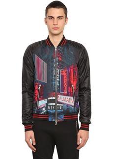 Balmain Printed Tech Satin Bomber Jacket