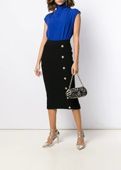 Balmain quilted fitted midi skirt