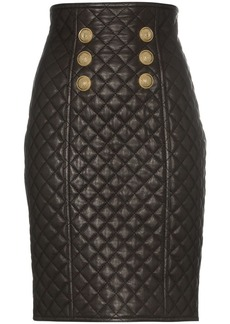 Balmain quilted leather high-rise skirt
