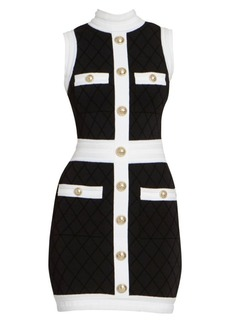 Balmain Quilted Sleeveless Mini Dress