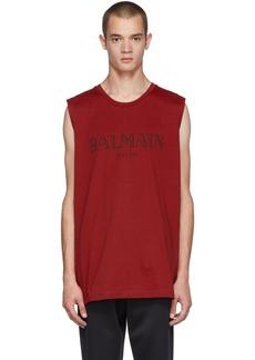 Balmain Red Logo Muscle T-Shirt