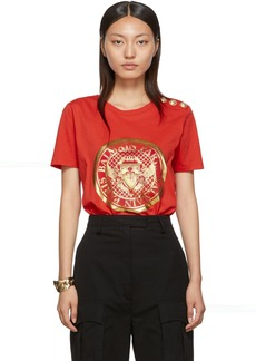 Balmain Red Medallion T-Shirt