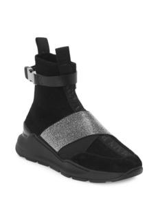 Balmain Rhinestone High-Top Sneakers