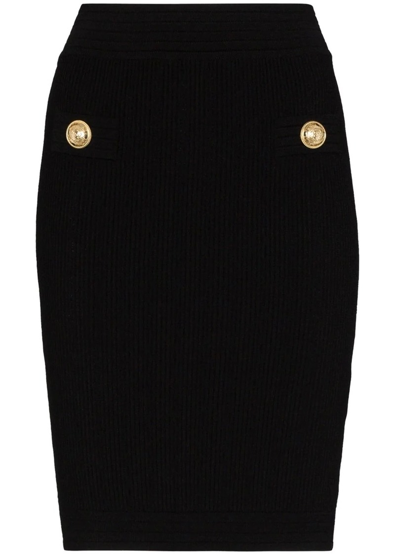 Balmain rib knit fitted skirt
