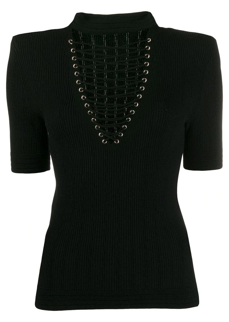Balmain rib-knit lace-up top
