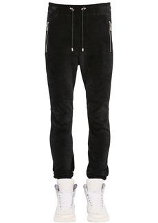 Balmain Ribbed Cotton Velvet Sweatpants W/ Zips