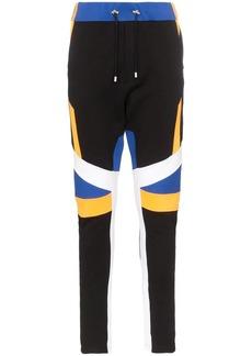 Balmain ribbed knee contrasting panel cotton track pants