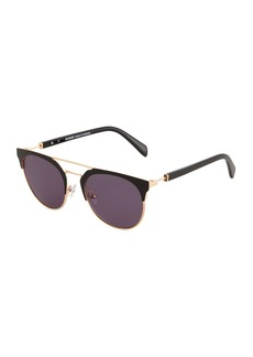 Balmain Round Browline Acetate/Metal Sunglasses