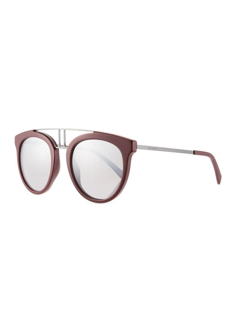 af71d7b5a99a Balmain Round Mirrored Acetate   Metal Double-Bridge Sunglasses ...