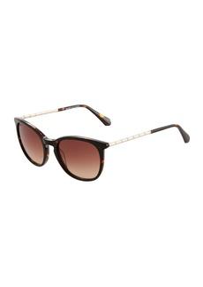 Balmain Round Tortoiseshell Acetate/Metal Sunglasses