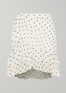 Balmain Ruffled Polka-dot Silk-georgette Mini Skirt