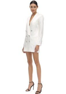 Balmain Satin Double Breast Blazer Dress
