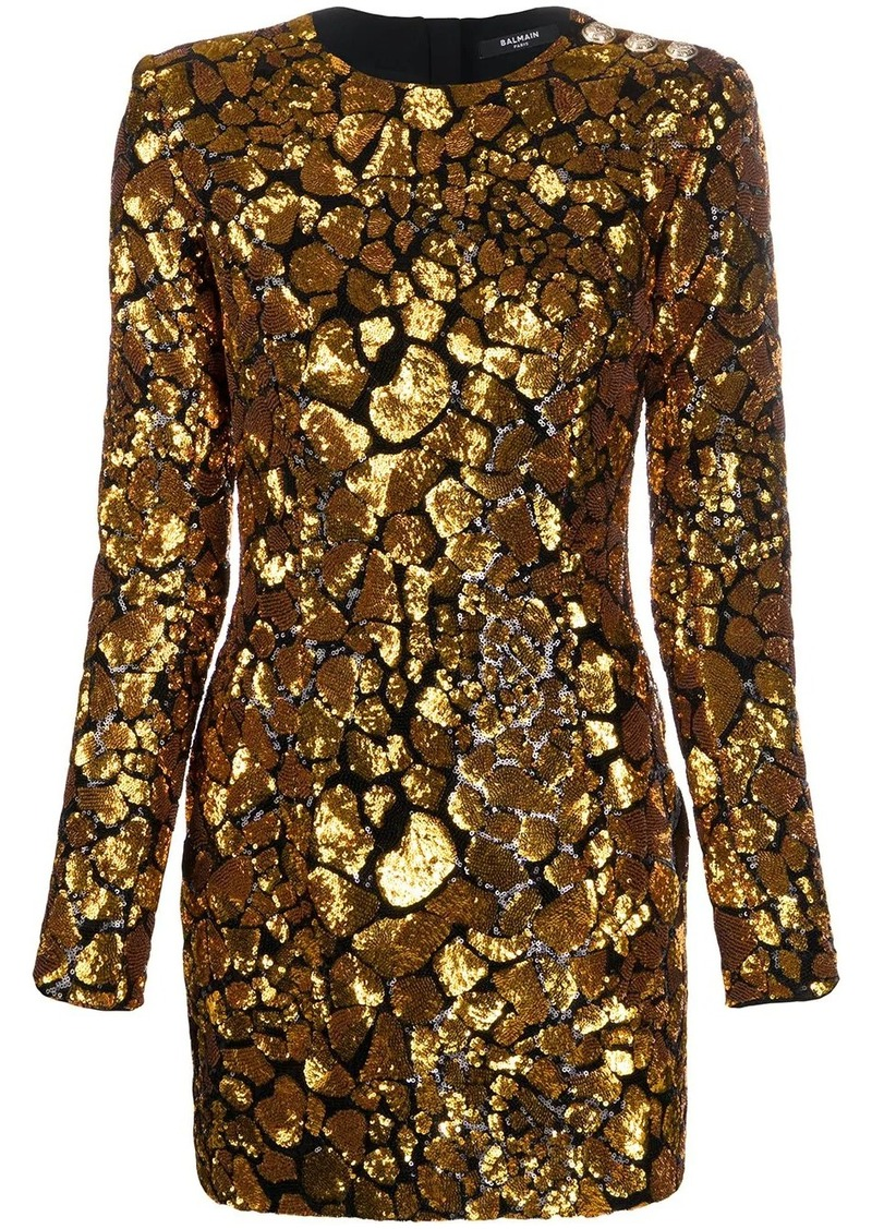 Balmain sequin embellished mini dress