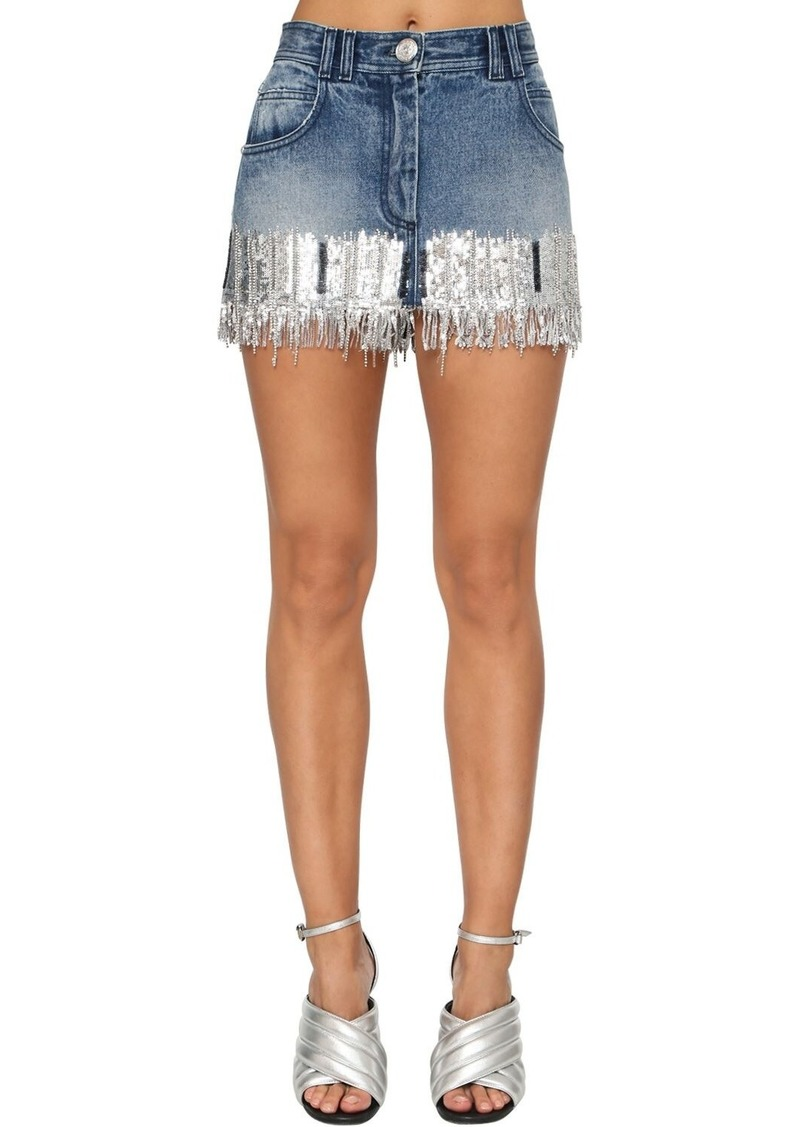 Balmain Sequin Fringe Cotton Denim Mini Skirt
