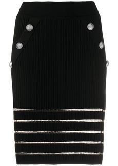 Balmain sheer detail knitted fitted skirt