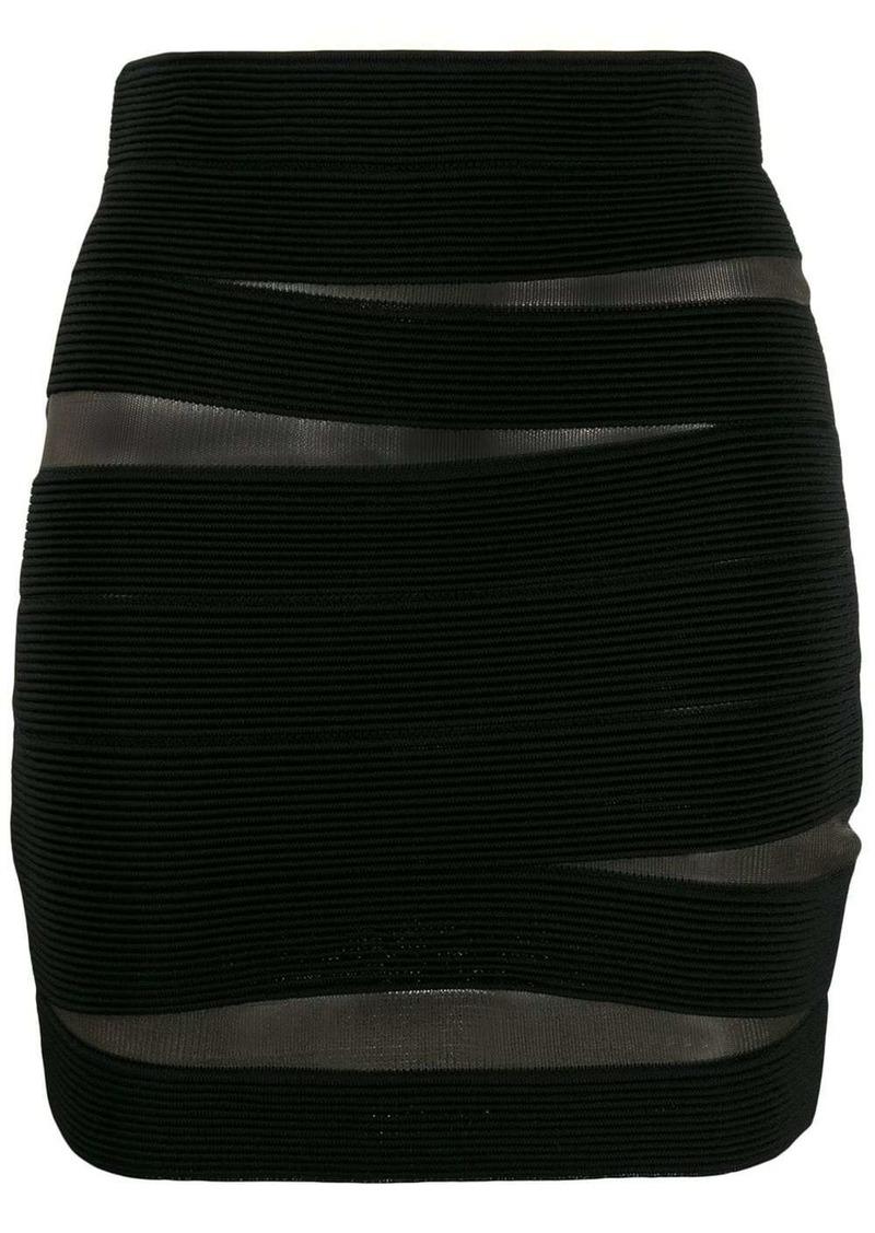 Balmain sheer fitted mini skirt