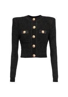 Balmain Short Buttoned Lurex Knit Cardigan