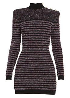 Balmain Short Long Sleeve Highneck Glitter Dress