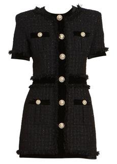 Balmain Short Sleeve Velvet Tweed Dress
