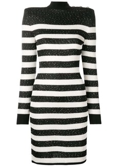 Balmain short sequined striped dress