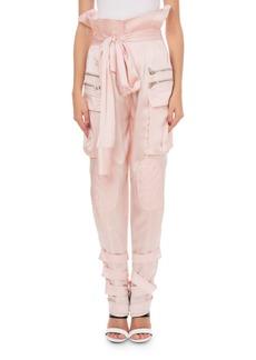 Balmain Silk Knotted Sleeve-Effect Cargo Pants