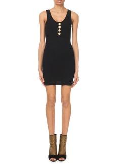 Balmain Sleeveless Button-Front Ribbed Dress